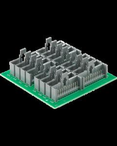 verteilerplatine 4 x 4 SIL 12p. male stiftleisten parallel, montiert auf einer seite, 21 TE breit